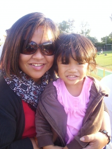 My sister Leth and my niece Lai at the game.
